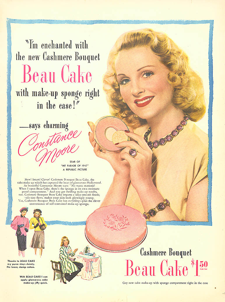 Image for Constance Moore for Cashmere Bouquet Beau Cake ad 1947