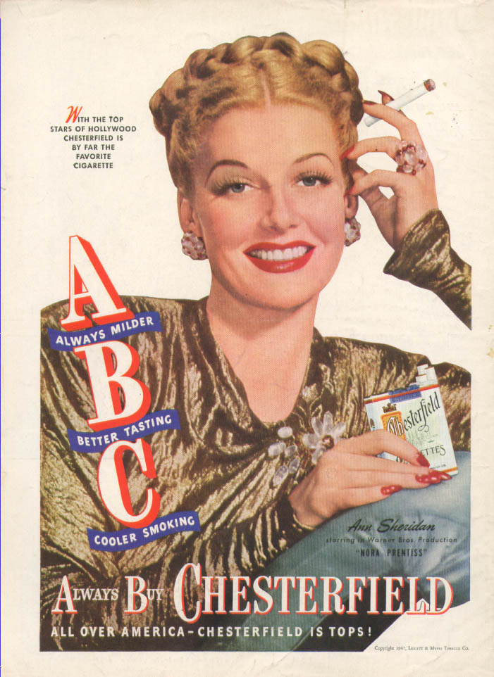 Ann Sheridan for Chesterfield Cigarettes ad 1947