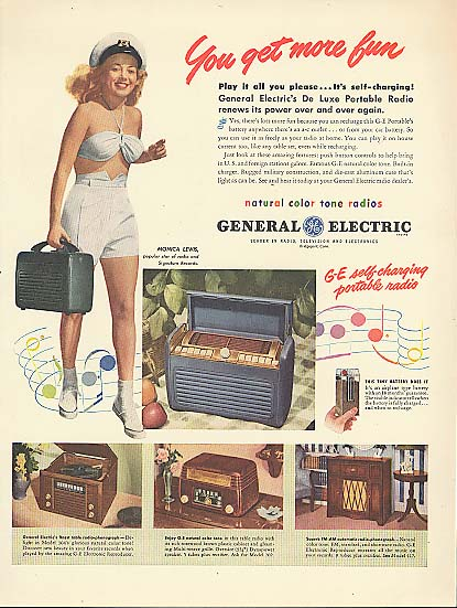 Image for Minica Lewis for General Electric Portable Radio ad 1947