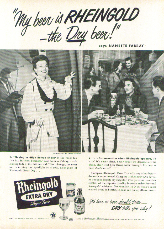 Image for Nanette Fabray for Rheingold Extra Dry Beer ad 1948