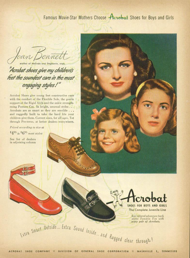 Image for Joan Bennett for Acrobat Shoes for Boys & Girls ad 1948