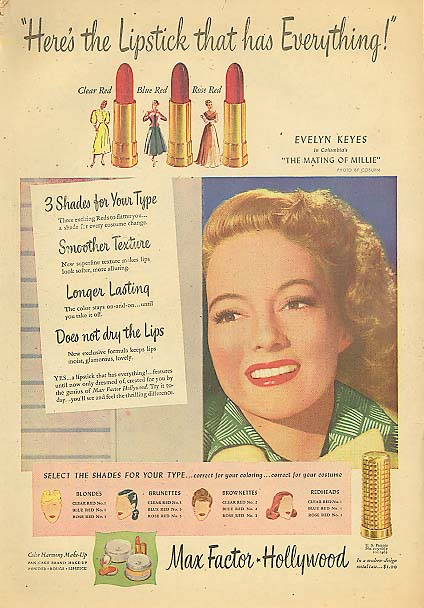 Image for Evelyn Keyes for Max Factor Hollywood Lipstick ad 1948