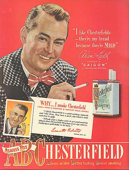 Image for Alan Ladd for Chesterfield Cigarettes ad 1948
