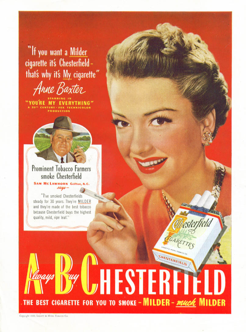 Anne Baxter for Chesterfield Cigarettes ad 1949