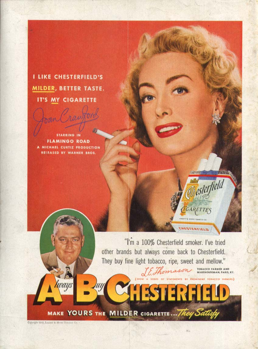Joan Crawford for Chesterfield cigarettes ad 1949