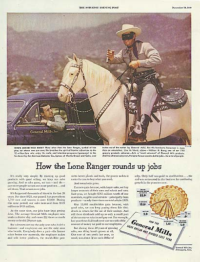 Image for Vlayton Moore as The Lone Ranger for General Mills ad 1949