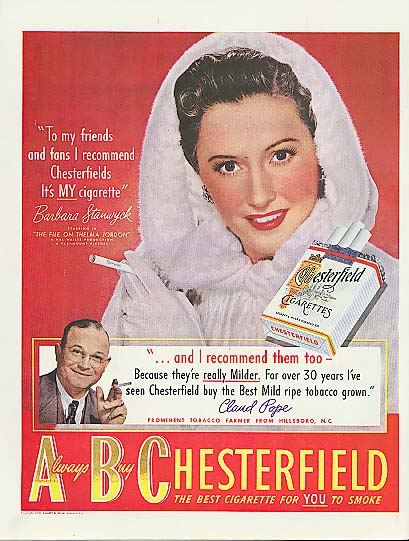 Image for To my friends I recommend Chesterfield cigarettes Barbara Stanwyck ad 1949