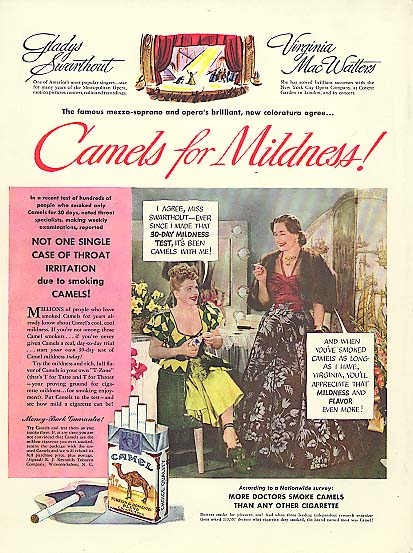 Image for Opera stars Gladys Swarthout & Virginia Mac Watters for Camel Cigarettes ad 1949