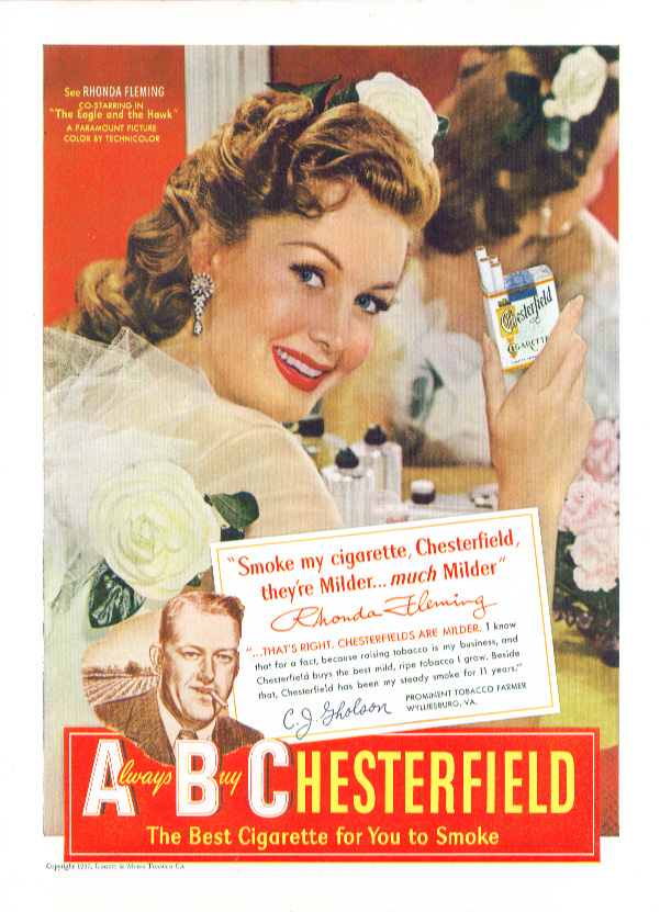 Image for Rhonda Fleming for Chesterfield Cigarettes ad 1950