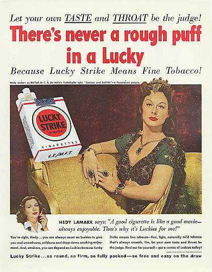 Image for Never a rough puff Hedy Lamarr for Lucky Strike Ciragettes ad 1950