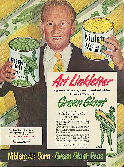 Image for Art Linkletter for Green Giant Peas and Niblets Corn ad 1950