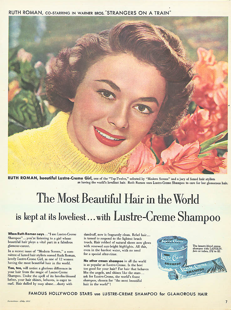 Image for Ruth Roman for Lustre-Crme Shampoo ad 1951