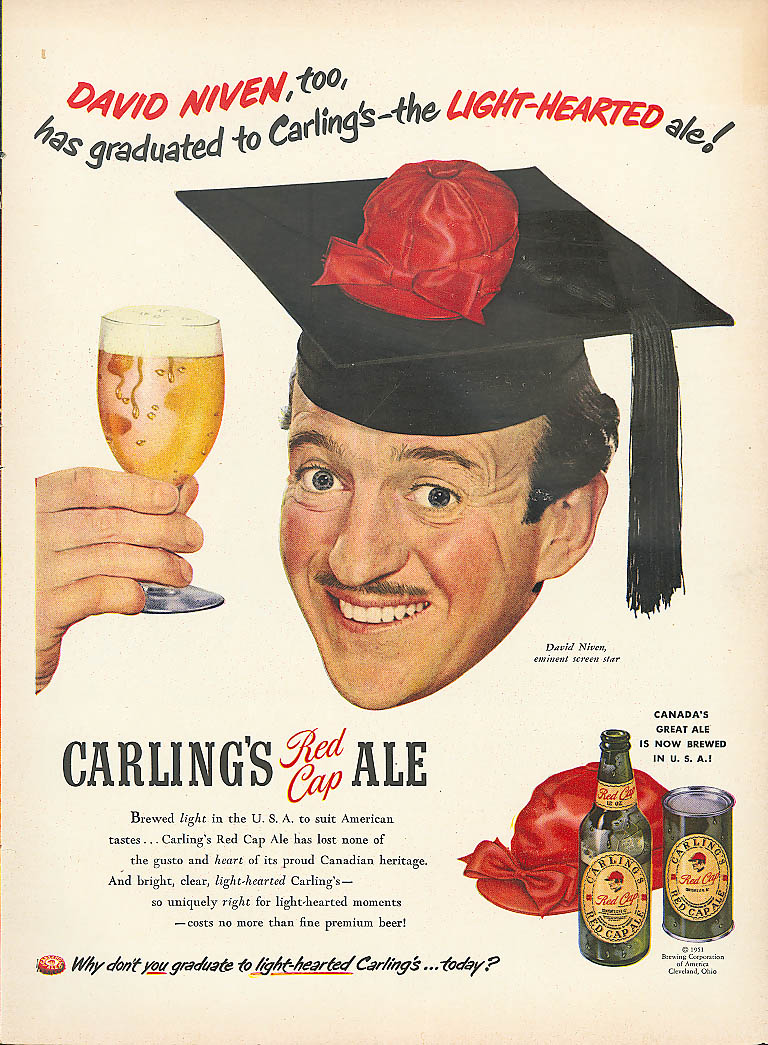 Image for David Niven for Carling's Red Cap Ale ad 1951