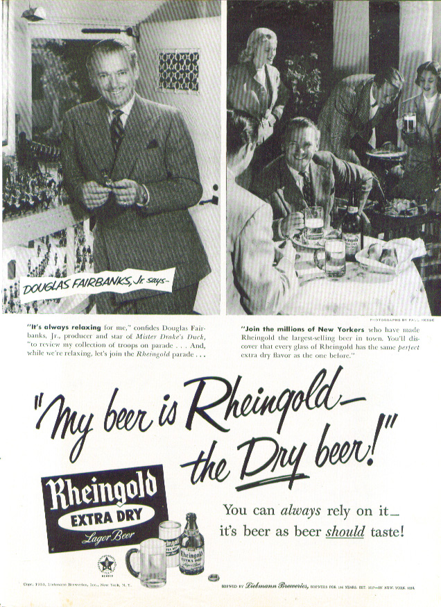 Image for Douglas Fairbanks Jr Rheingold Extra Dry Beer ad 1951