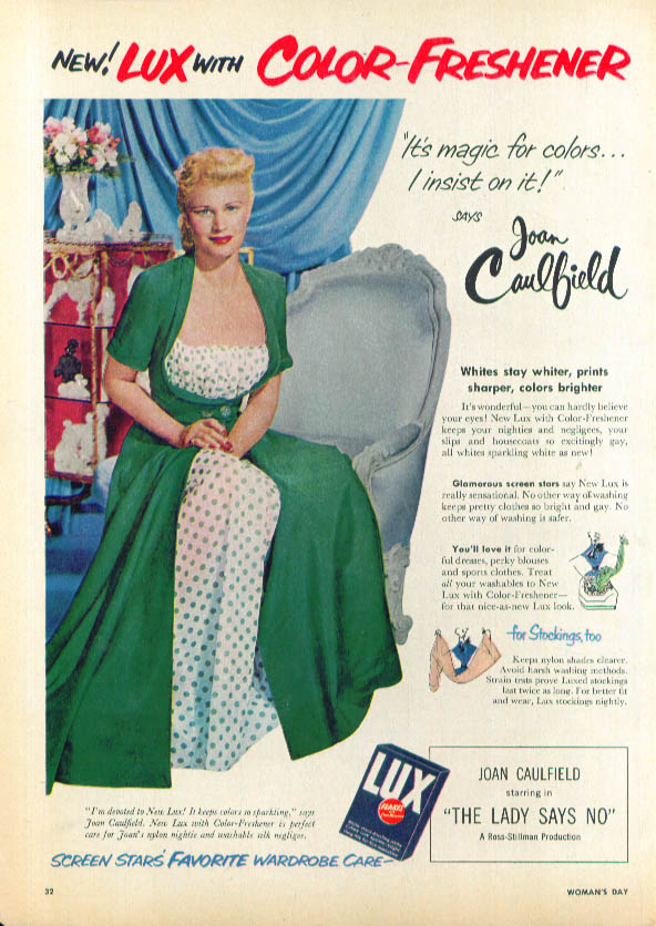 Image for Joan Caulfield for Lux Flakes Color-Freshener ad 1951
