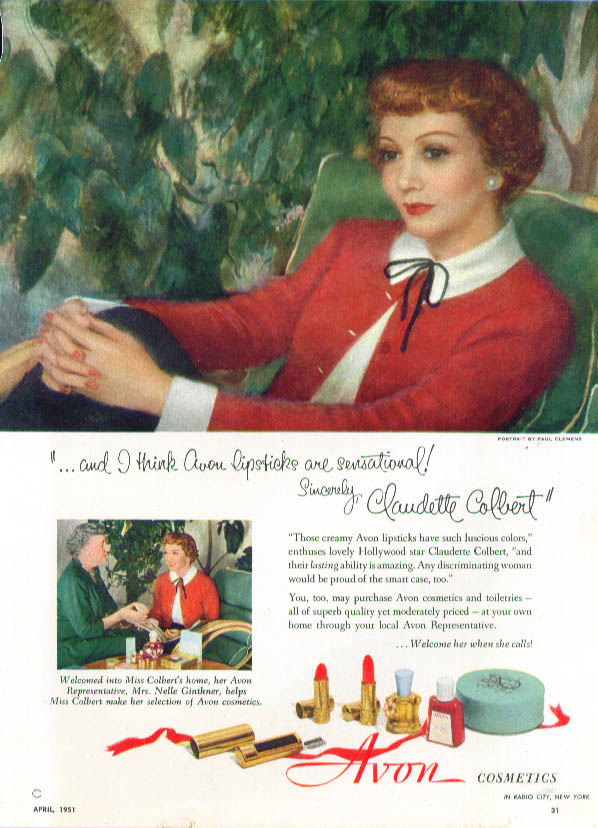 Image for Claudette Colbert for Avon Cosmetics ad 1951