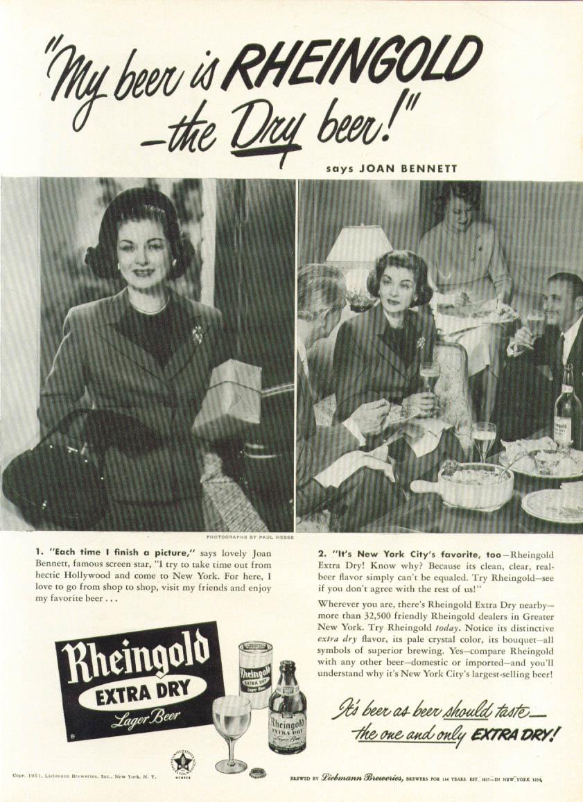Image for Joan Bennett for Rheingold Extra Dry Beer ad 1951