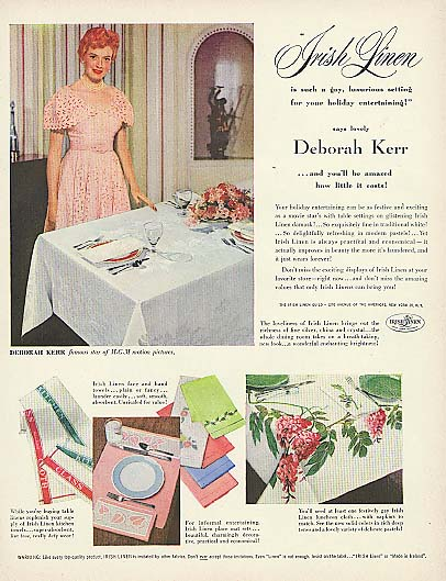 Image for Deborah Kerr for Irish Linen for your holiday entertaining ad 1951