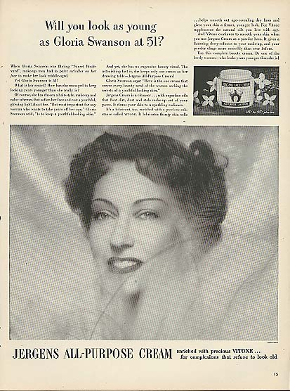 Image for Will you look as young as Gloria Swanson at 51? Jergens Cream ad 1951 #1