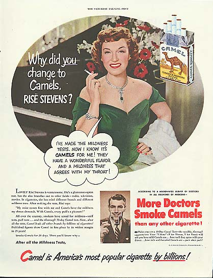 Image for Why did YOU change to Camels, Rise Stevens Camel Cigarettes ad 1951