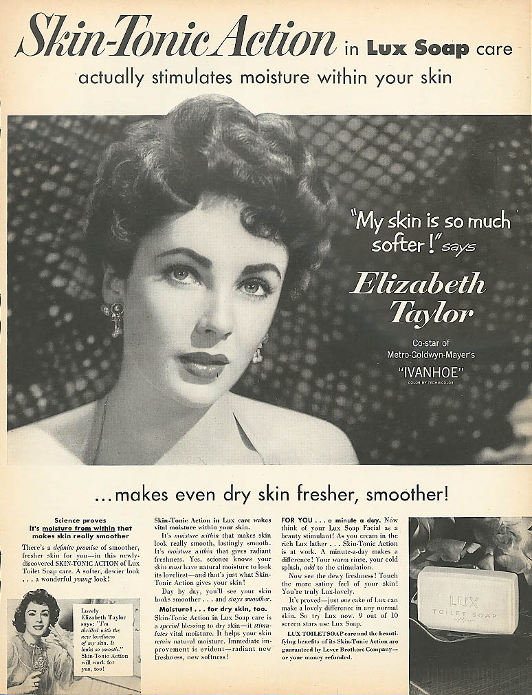 Image for Elizabeth Taylor for Lux Toilet Soap ad 1952