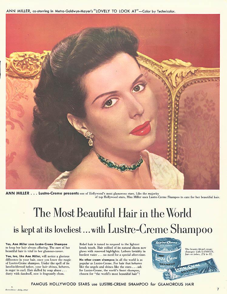 Ann Miller for Lustre-Crème Shampoo ad 1952 Seventeen