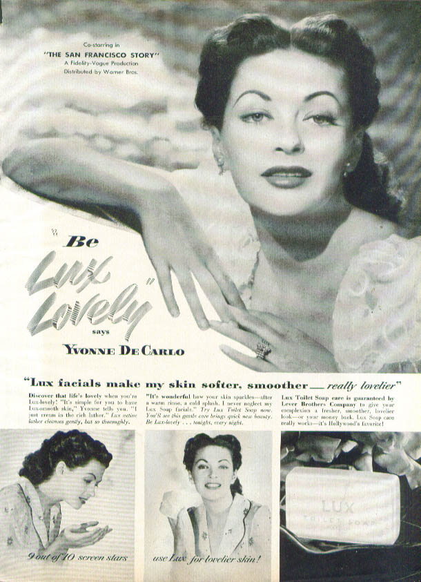 Image for Yvonne De Carlo for Lux Toilet Soap ad 1952