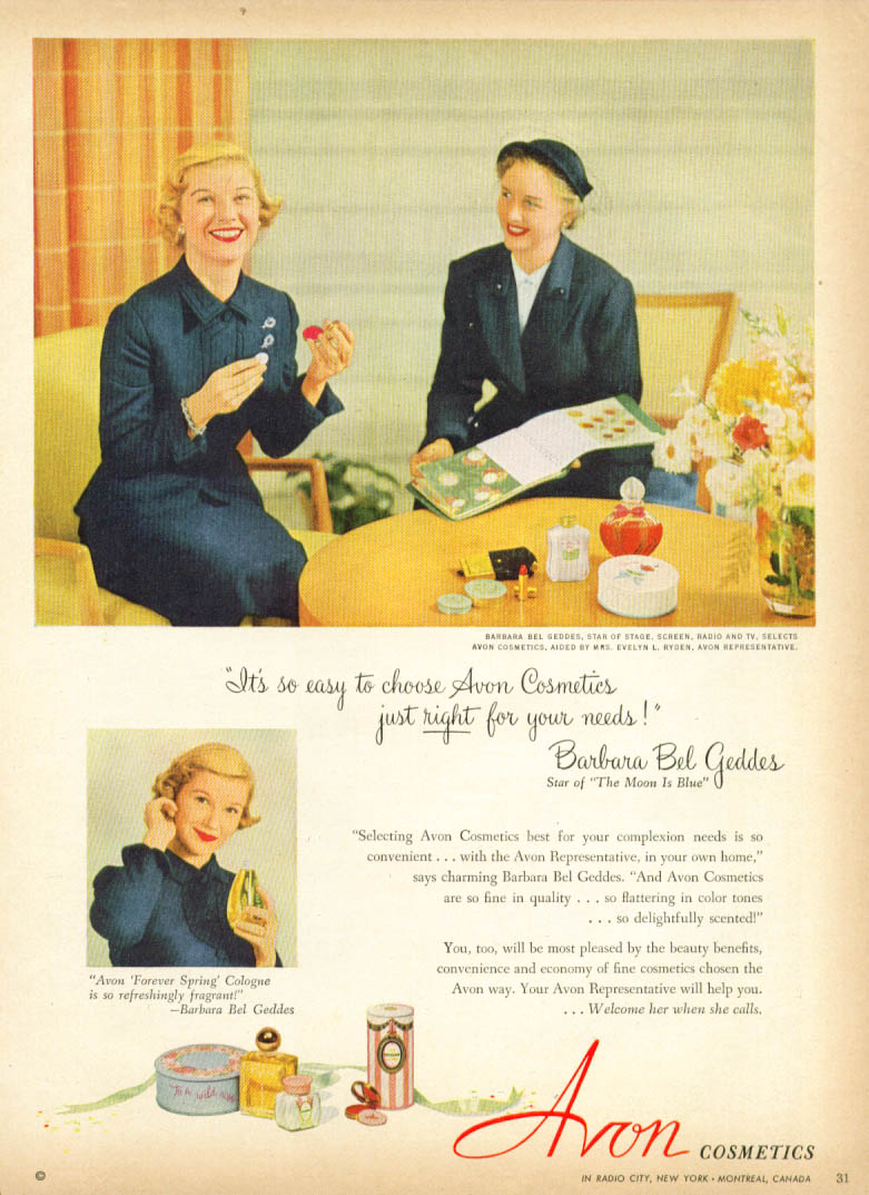 Image for Barbara Bel Geddes for Avon Cosmetics ad 1952
