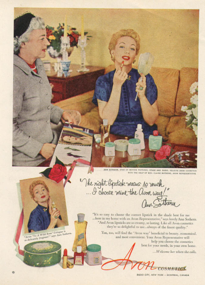 Ann Sothern for Avon Cosmetics ad 1952