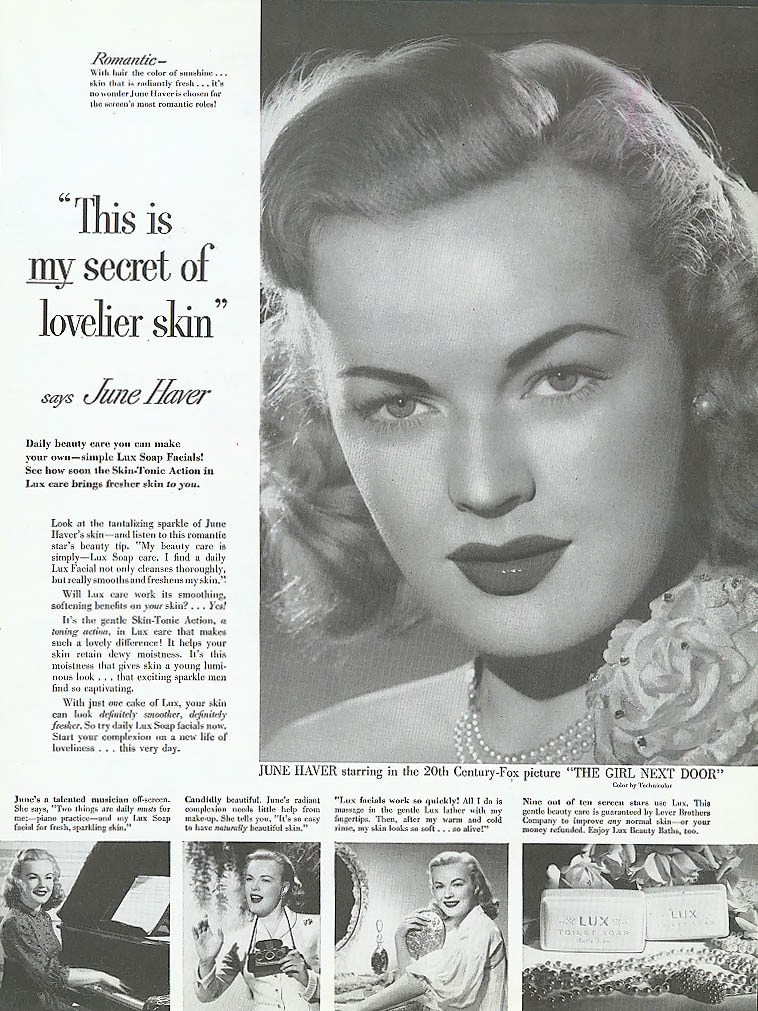 Image for June Haver for Lux Toilet Soap ad 1953