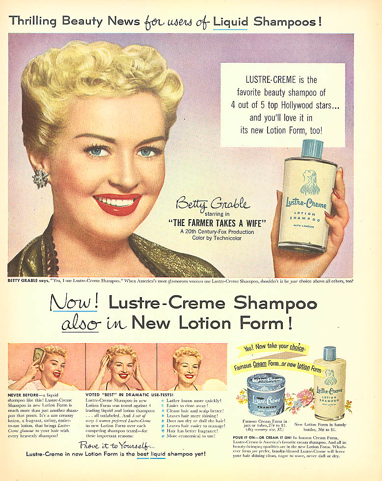 Image for Betty Grable for Lustre-Crème Shampoo ad 1953 Look