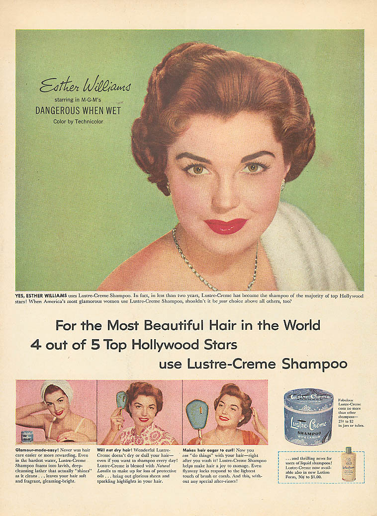 Image for Esther Williams for Lustre-Crème Shampoo ad 1953 Life