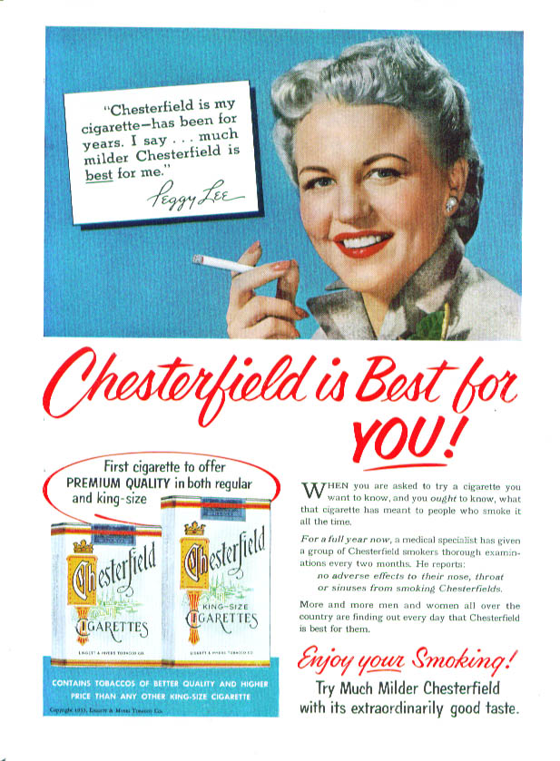 Image for Peggy Lee for Chesterfield Cigarettes ad 1953 US News