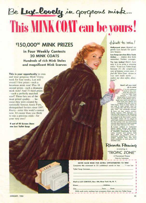 Image for Rhonda Fleming for Lux Soap Mink Coat Contest ad 1953