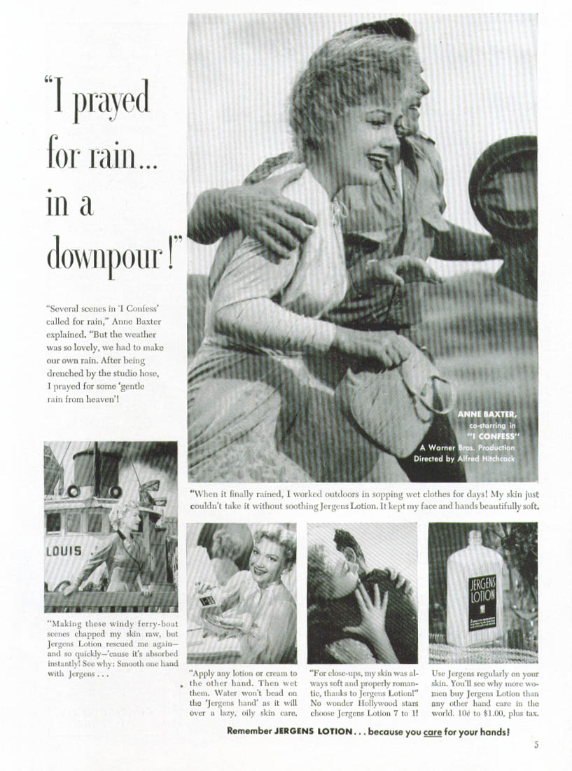 Anne Baxter for Jergens Lotion ad 1953