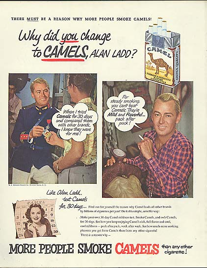 Image for Alan Ladd for Camel Cigarettes ad 1953 Why did YOU change?