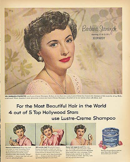 Image for Barbara Stanwyck for Lustre-Crme Shampoo ad 1953
