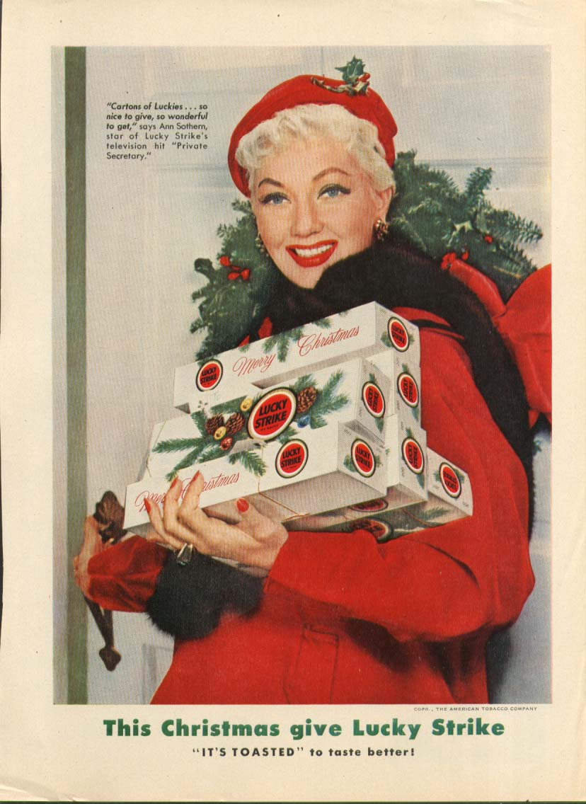 Ann Sothern for Lucky Strike cigarettes Xmas ad 1954