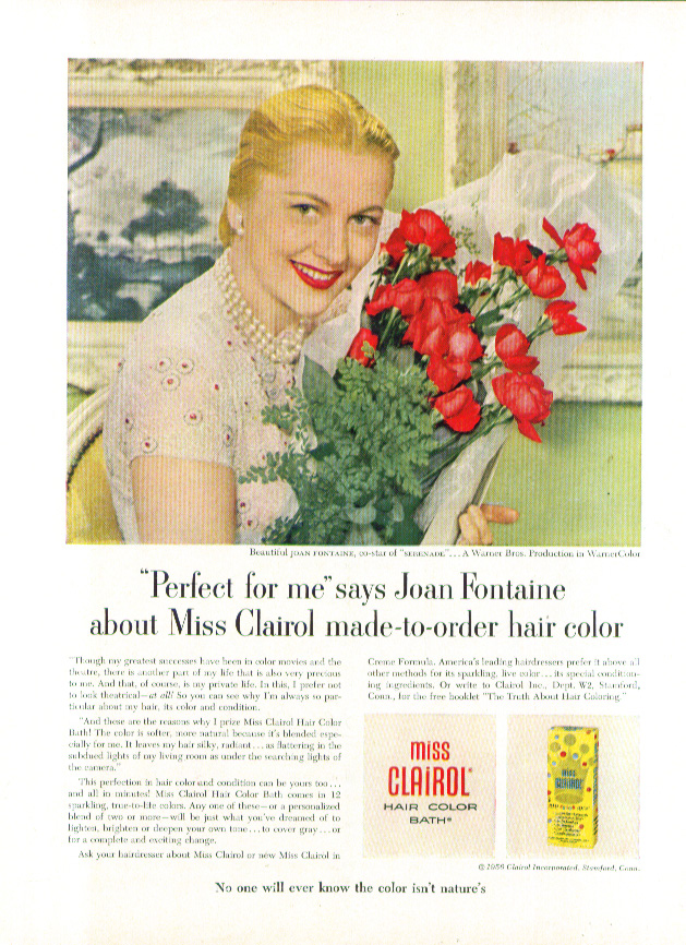 Image for Joan Fontaine for Miss Clairol Hair Color Bath ad 1956 New Yorker