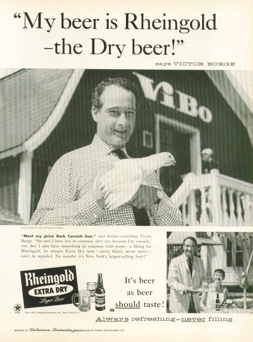 Image for Victor Borge for Rheingold Extra Dry Beer ad 1956