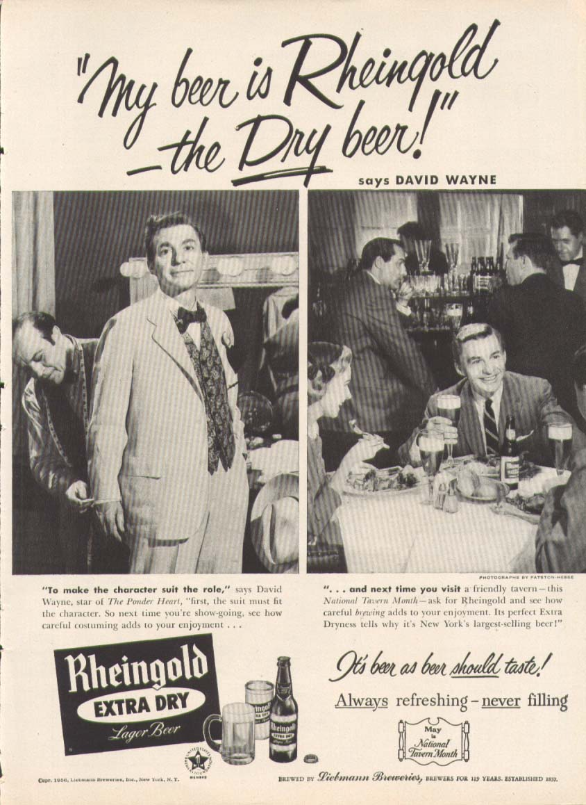 Actor David Wayne for Rheingold Extra Dry Beer ad 1956