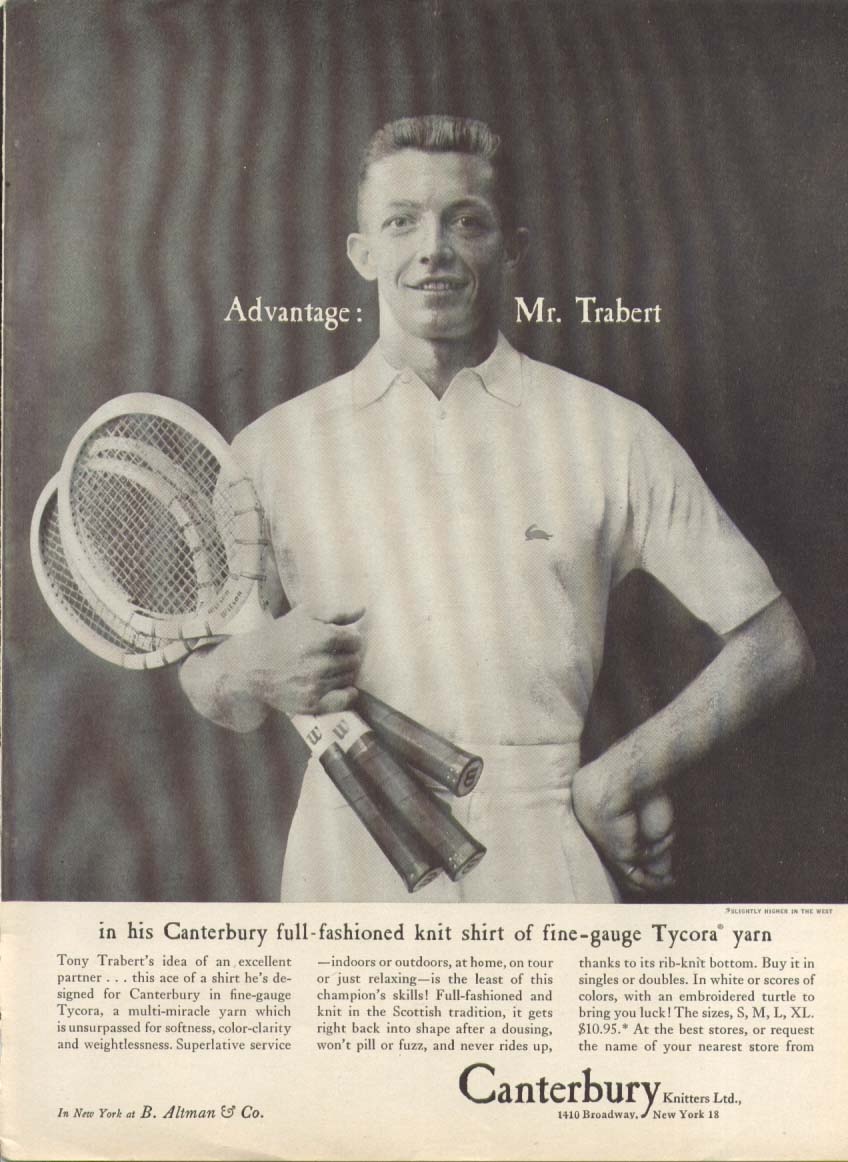 Tony Trabert for Canterbury Knitters ad 1956