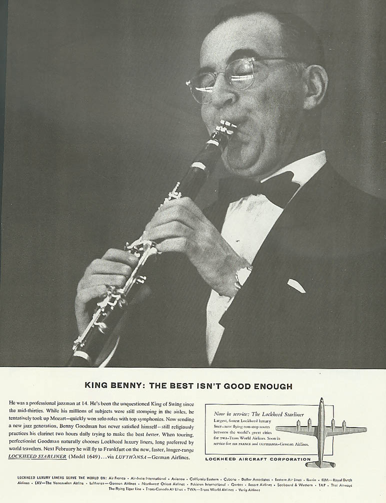 Image for Benny Goodman for Lockheed Constellation ad 1957 Holiday