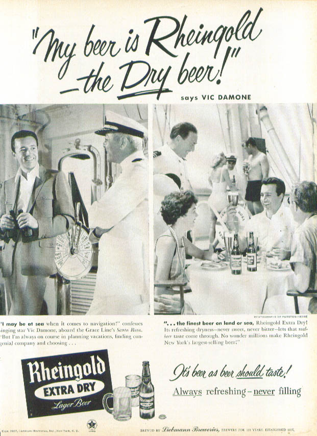 Image for Vic Damone for Rheingold Extra Dry Beer ad 1957