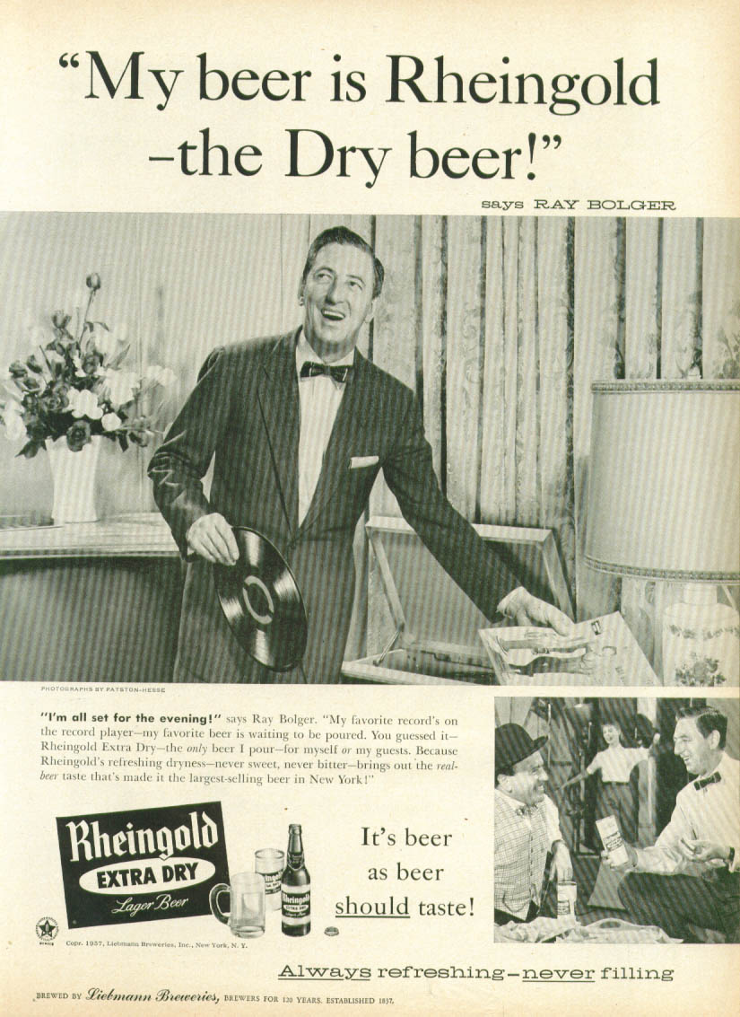 Image for Ray Bolger for Rheingold Extra Dry Beer ad 1957