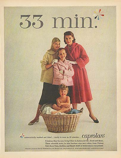 33 min.* Carol Lynley in Caprolan Fiber for women's & girl's coats ad 1957