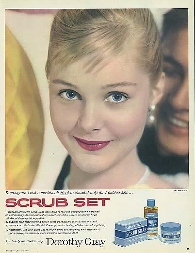 Image for Carol Lynley for Dorothy Gray Scrub Set Soap Lotion & Cream ad 1958