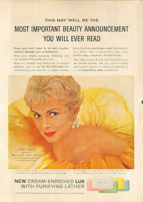 Janet Leigh for Lux Soap ad 1960