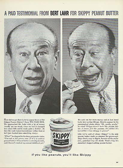 Image for Paid Testimonial by Bert Lahr for Skippy Peanut Butter ad 1960