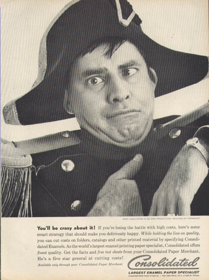 Image for Jerry Lewis You'd Be Crazy Consolidated Paper ad 1961